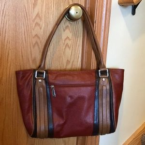 New high end Pebble Leather 2 handle fall tote bag
